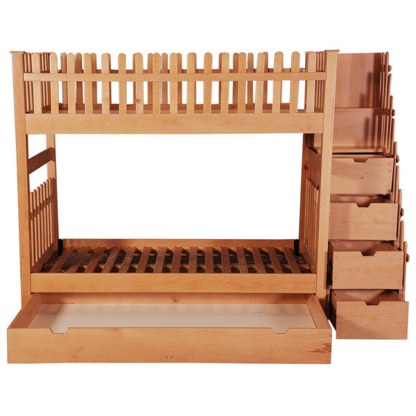 Buy Double Bunk Bed With Trundle 4 Drawer Steps Pink Guppy Kids