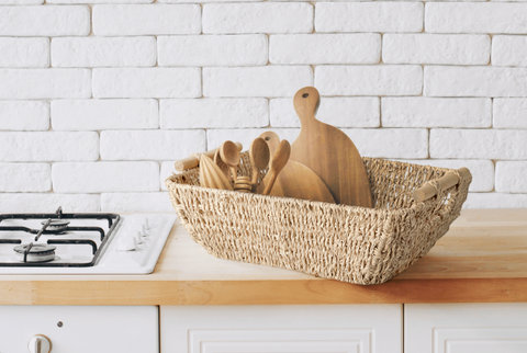 Use the wicker baskets to keep your counter clean