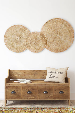 Keep your home warm tip is to decorate with wicker wall decor