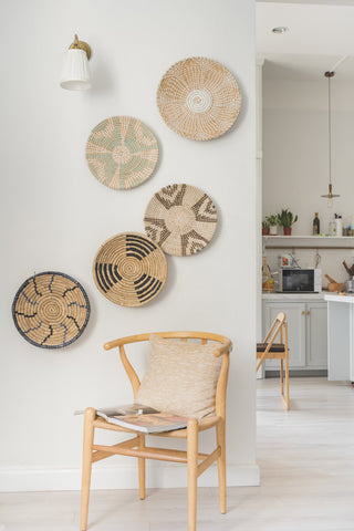 Accent wall living room-wicker wall decor