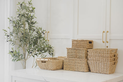 Accent wall living room-seagrass baskets