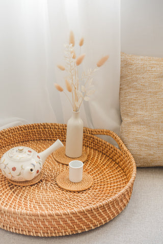 Simple home decor items-rattan serving tray