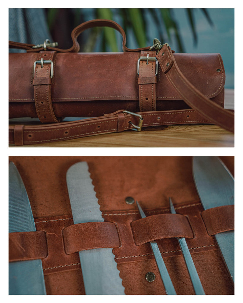 brown chef's knife roll case by Fashion Racing