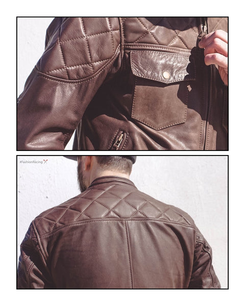 HandMade brown leather jacket by Fashion Racing, men's motorcycle jacket