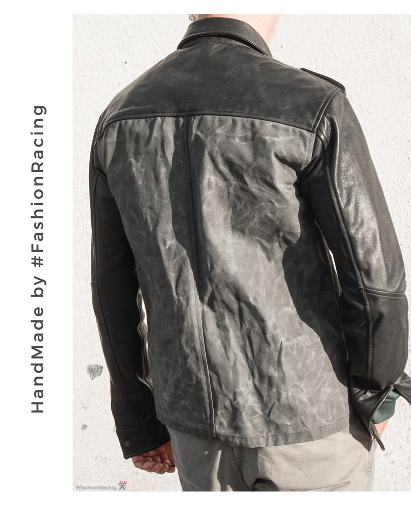 Men's waxed canvas shirt, custom leather jacket by Fashion Racing
