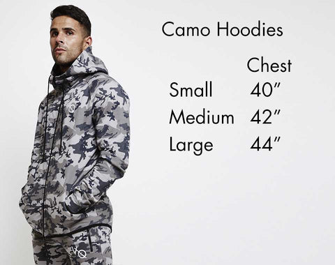 Vanquish Fitness Camo Hoodie Size Guide