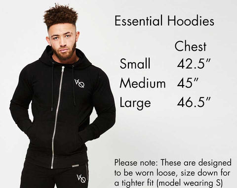Vanquish Fitness Essential Hoodie Size Guide