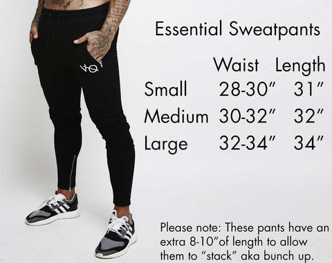 Vanquish Fitness Essential Sweatpants Size Guide