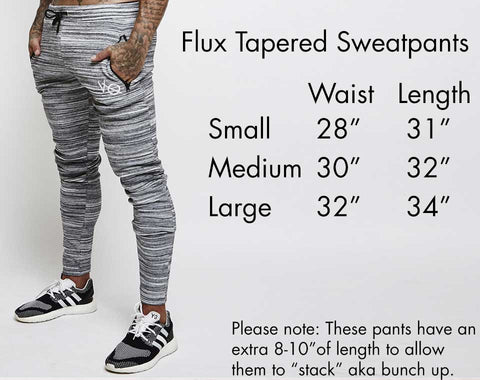 Vanquish Fitness Flux Tapred Sweatpants Size Guide
