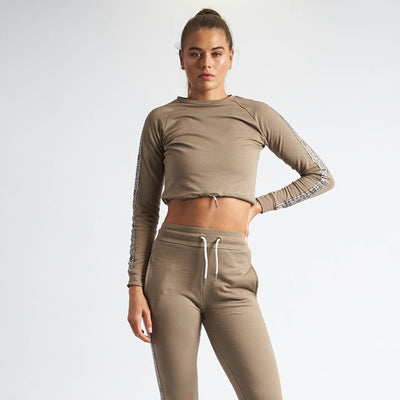 Vanquish Women's Embrace Khaki Cropped Sweater