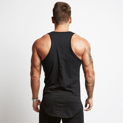 8797dceac5816b Vanquish Fitness Men s Essential Black Longline Gym Tank Top Vest
