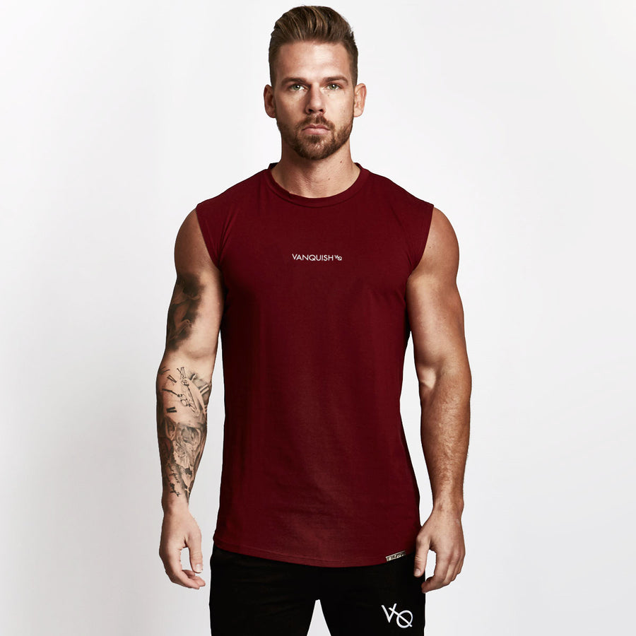 Vanquish Burgundy Minimal Sleeveless T Shirt