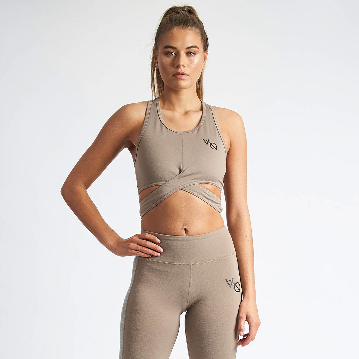 Vanquish Women's Khaki Crossover Crop Top
