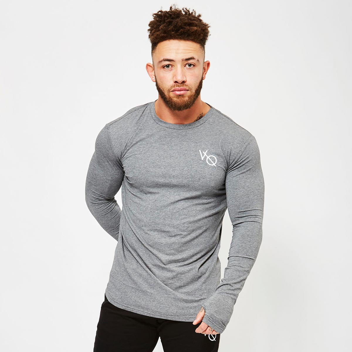 Vanquish Fitness Men's Grey Long Sleeved Fitted Gym T Shirt