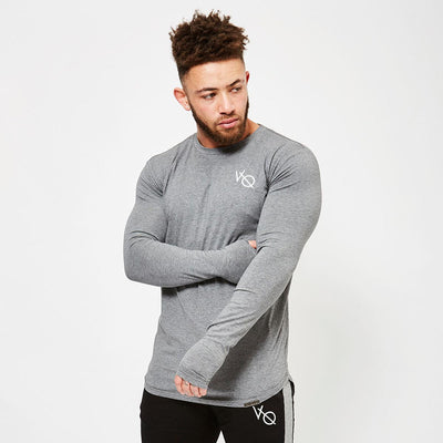 Vanquish Grey Long Sleeve Curved Hem T Shirt