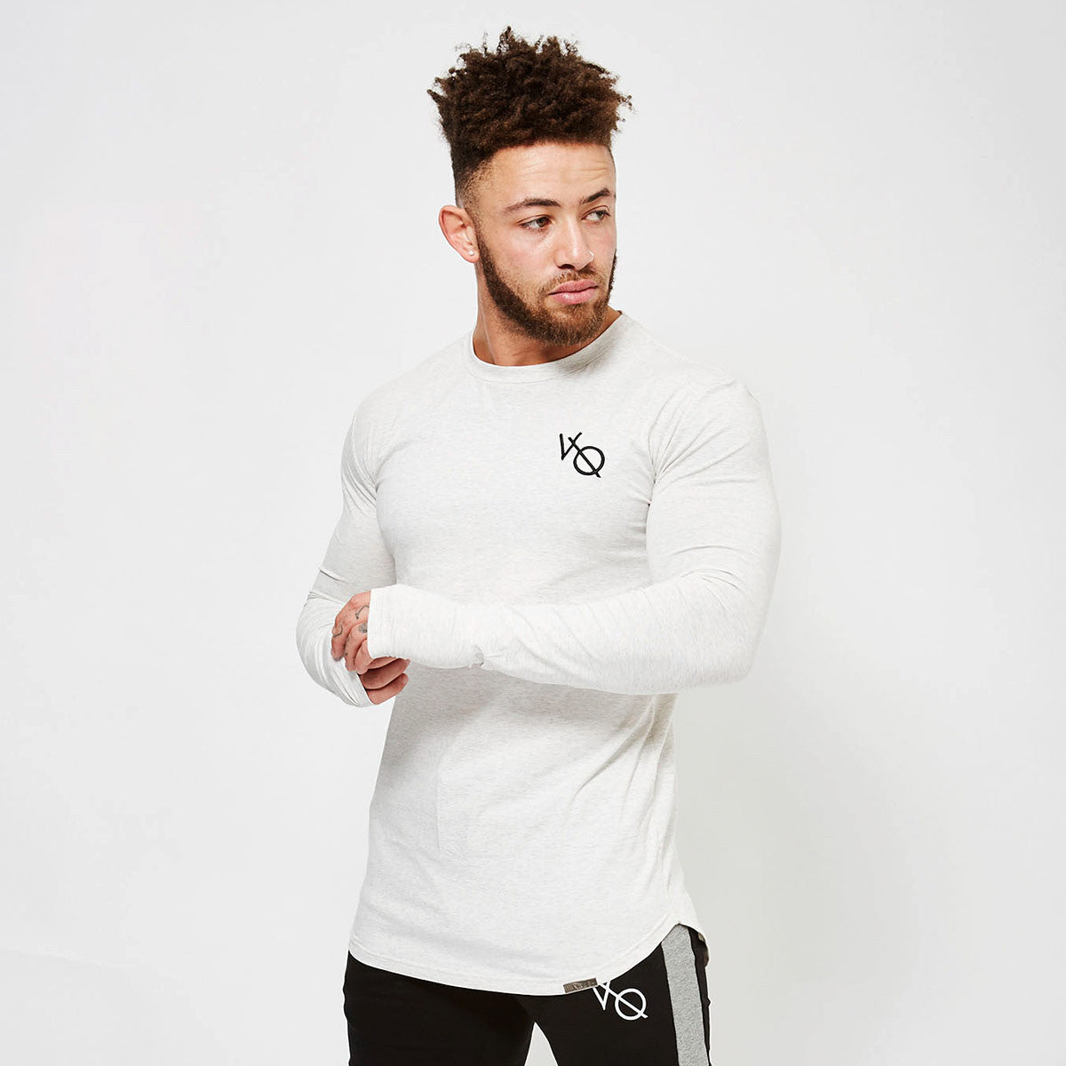 Vanquish fitness men 39 s white long sleeved fitted gym t shirt for Mens long sleeve white t shirt
