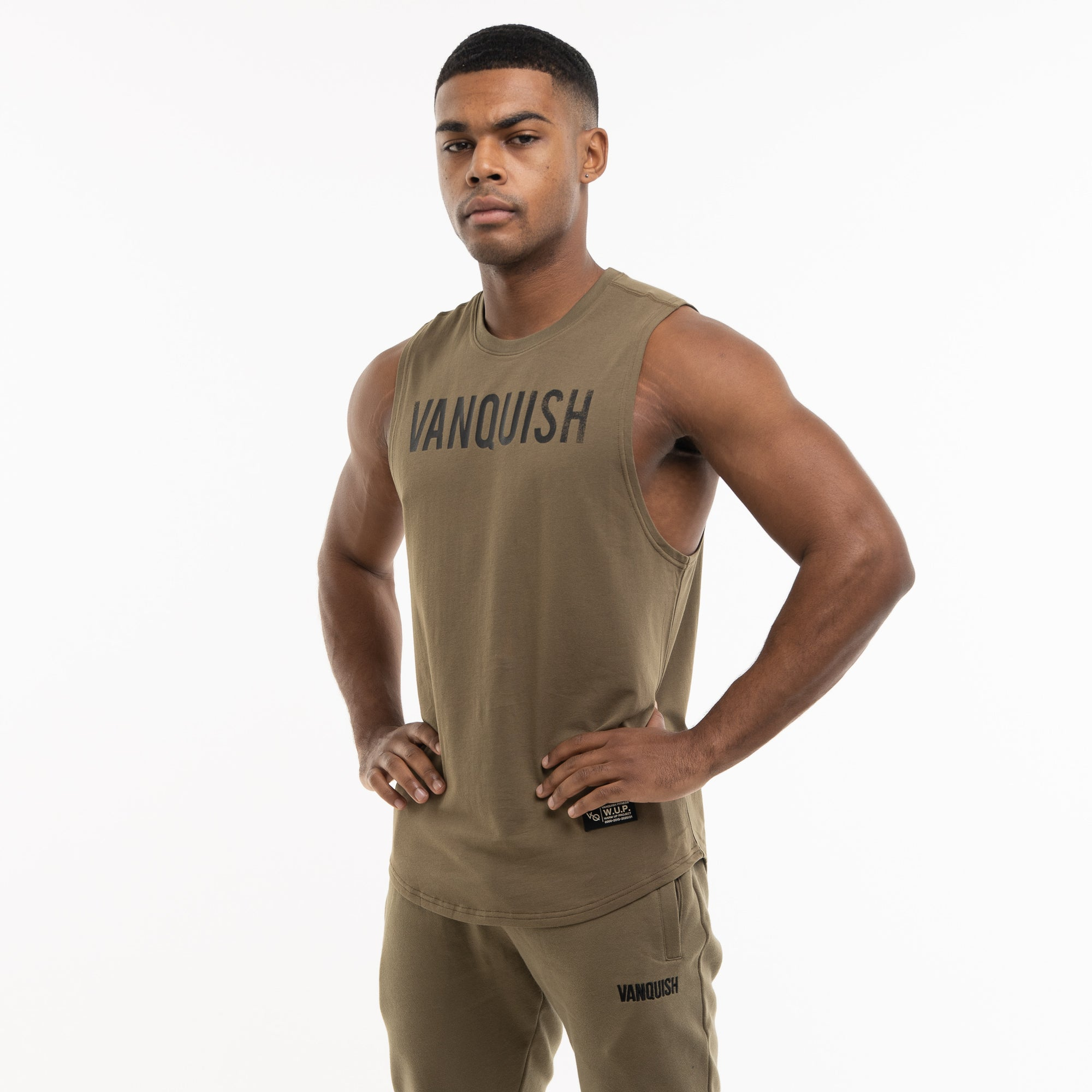 Vanquish Warm Up Project Olive Sleeveless T Shirt