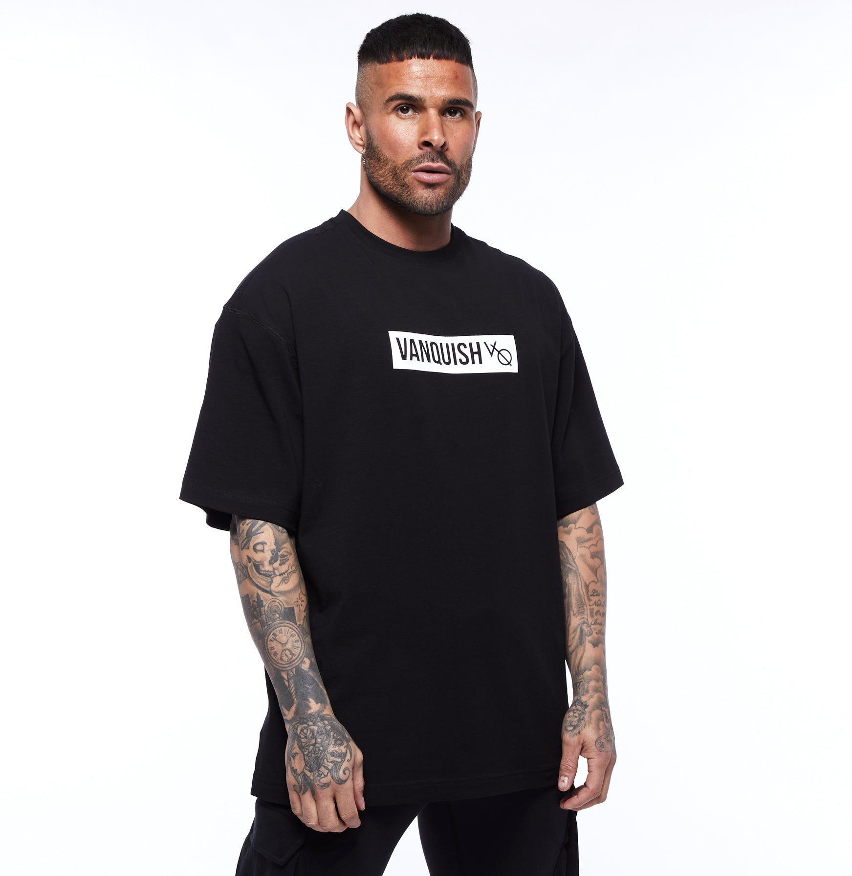 Vanquish Box Logo Black Oversized T Shirt
