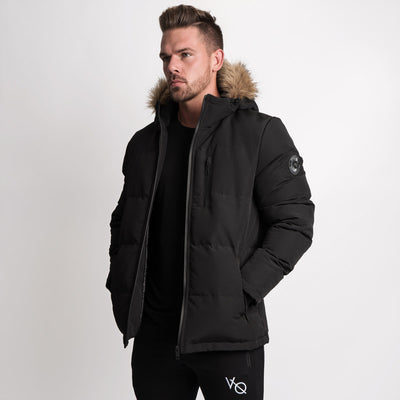 Vanquish Black Faux Fur Hooded Parka
