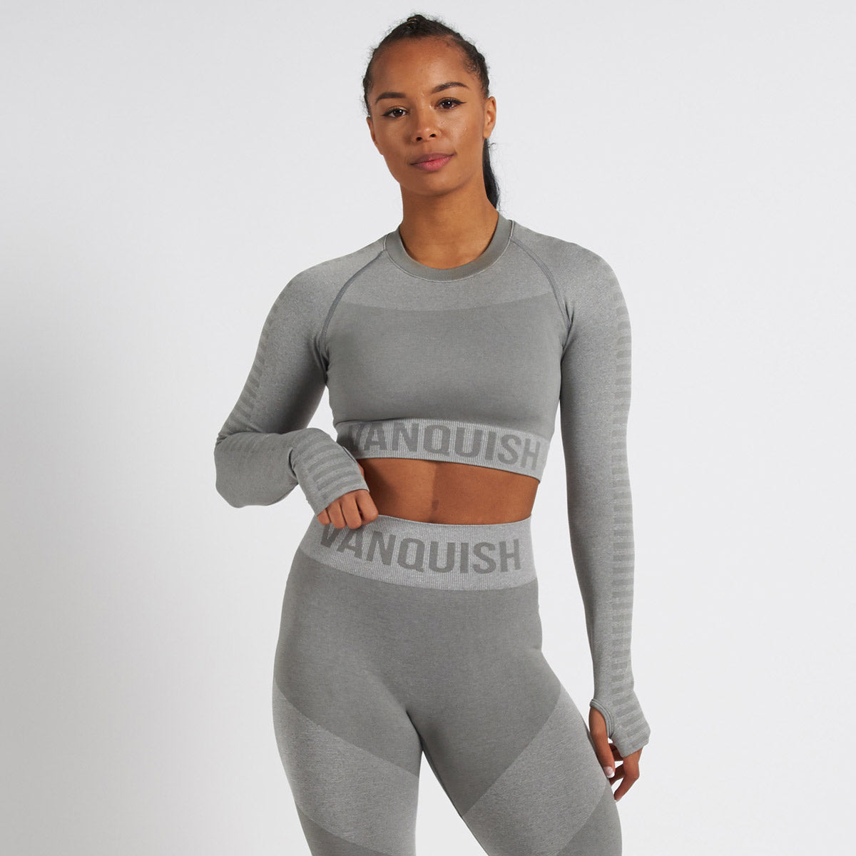 Vanquish Allure Grey Seamless Long Sleeve Crop Top