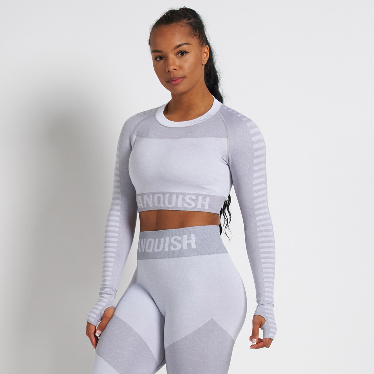 Vanquish Allure White Seamless Long Sleeve Crop Top