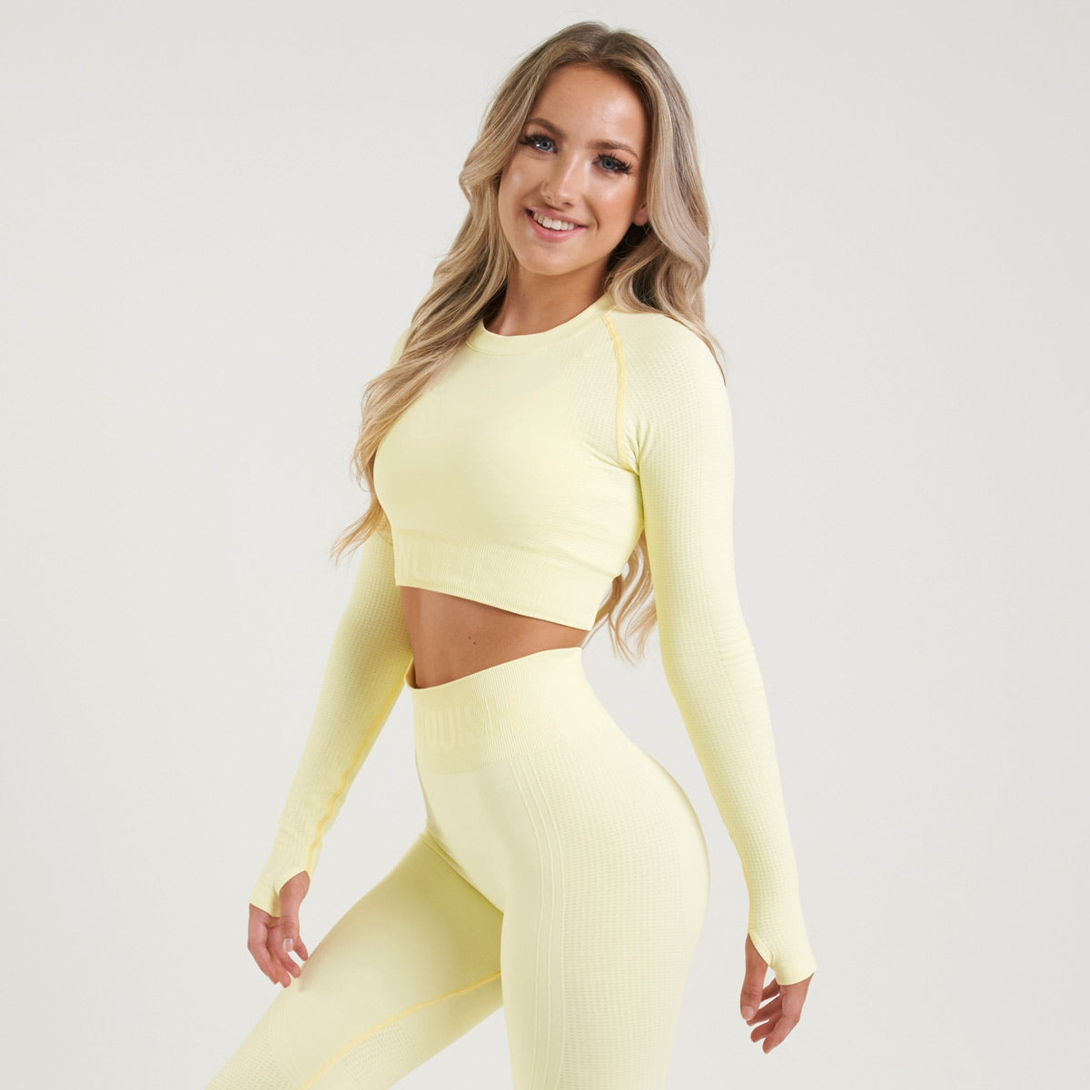 Vanquish Bright Women's Soft Lemon Seamless Long Sleeve Crop Top