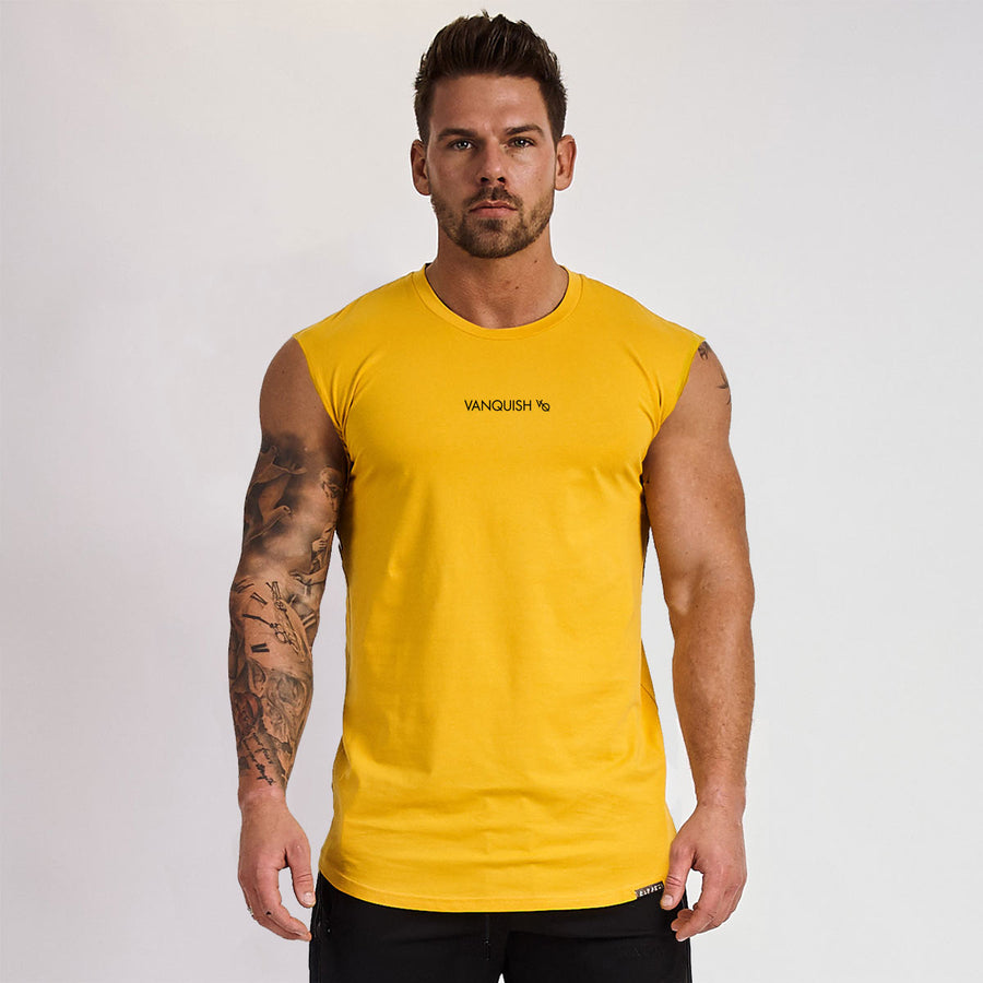 Vanquish Yellow Minimal Sleeveless T Shirt