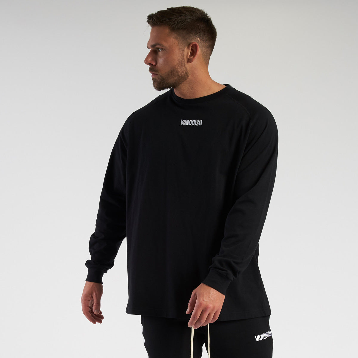 Vanquish Contrast Black Oversized Long Sleeve T Shirt