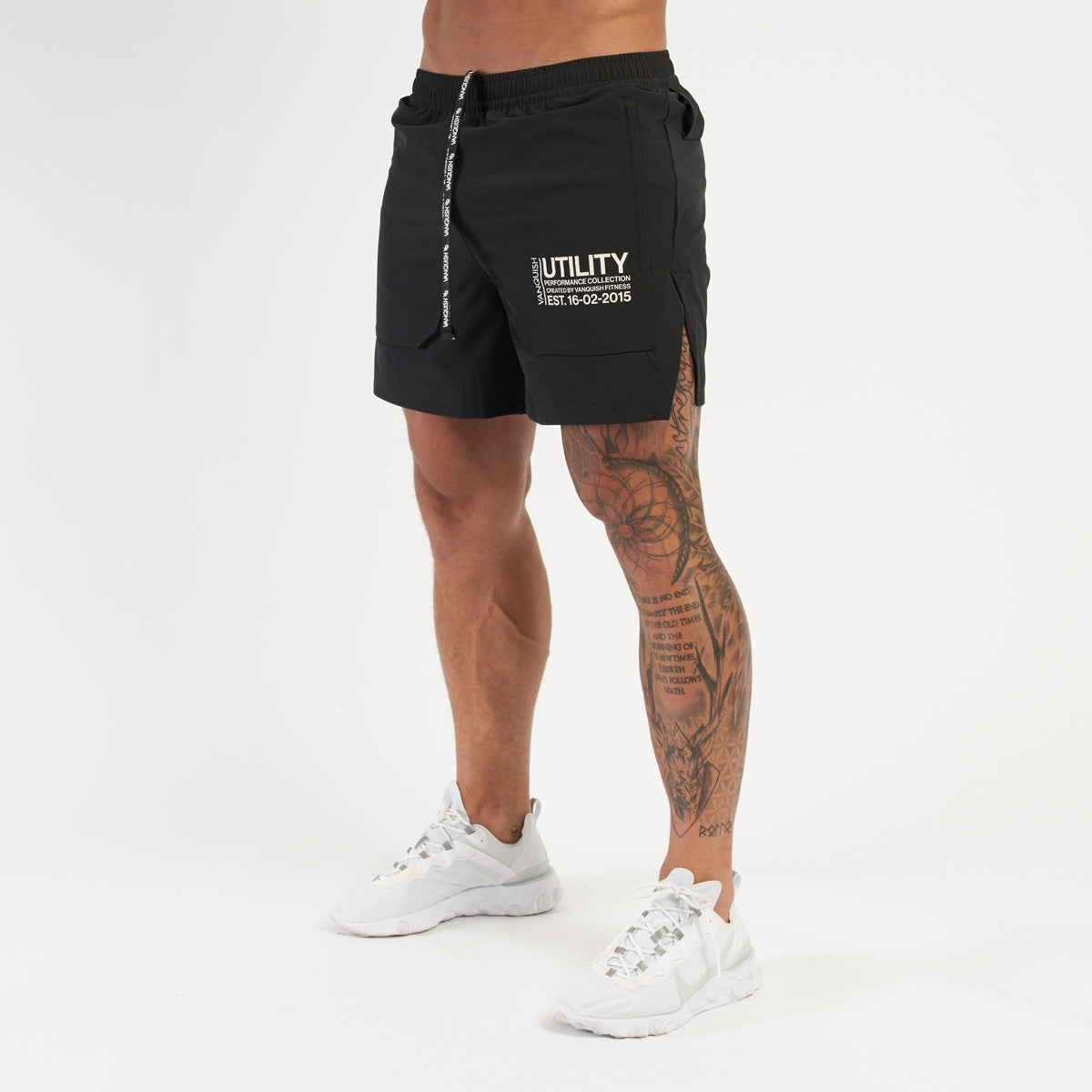 Vanquish Utility Men's Black 5 Inch Shorts