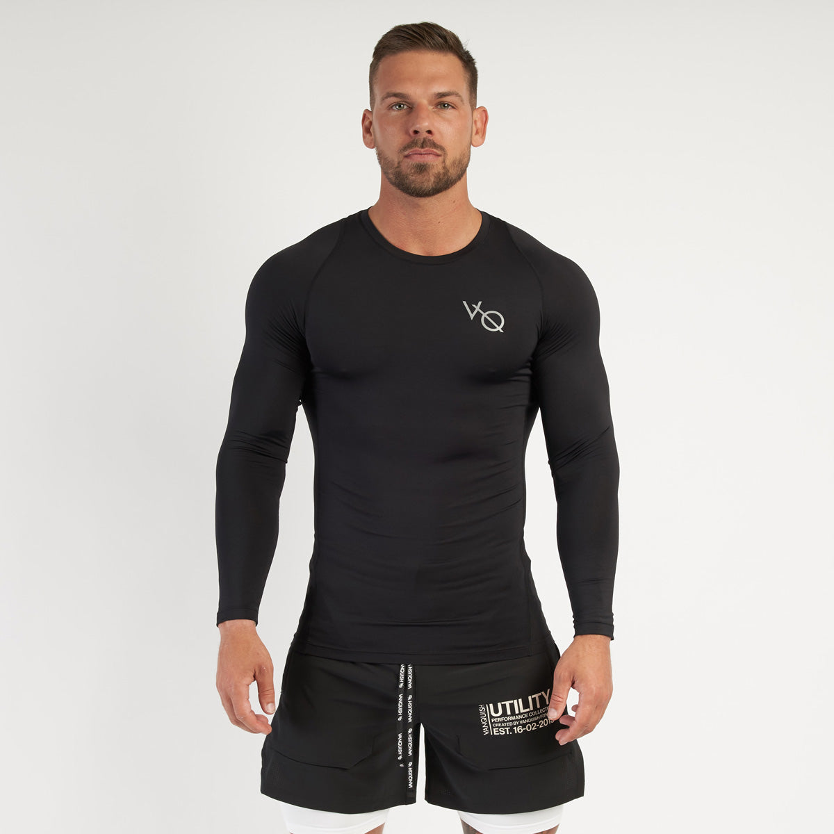 Vanquish Utility Men's Black Long Sleeved Compression T Shirt