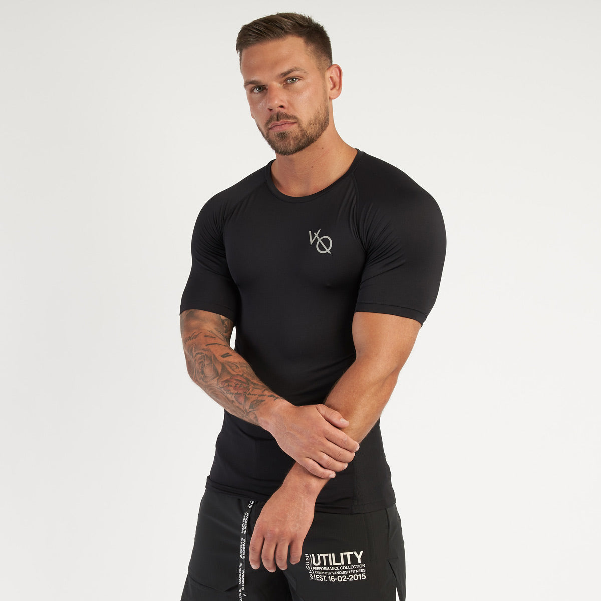 Vanquish Utility Men's Black Short Sleeved Compression T Shirt
