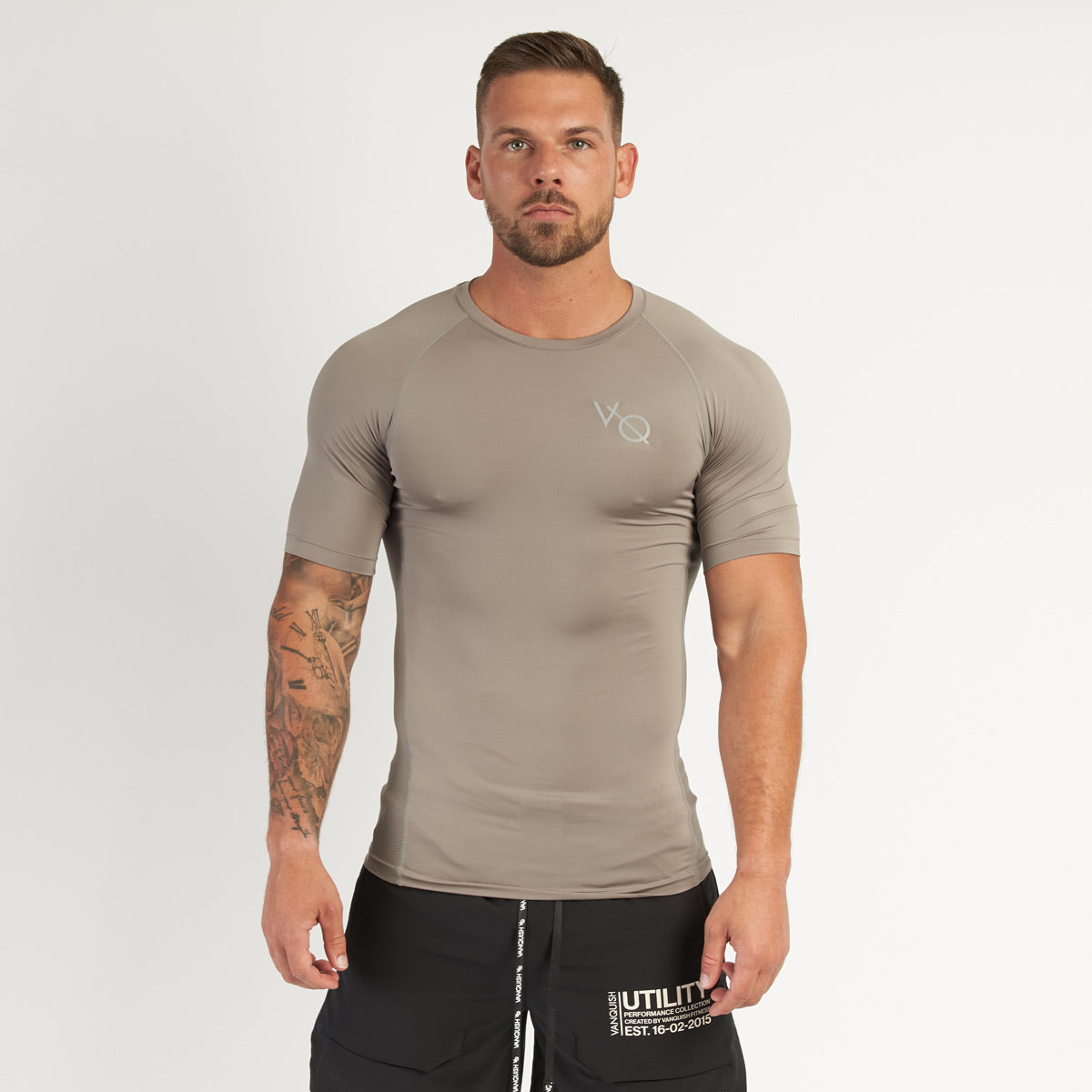 Vanquish Utility Men's Khaki Short Sleeved Compression T Shirt