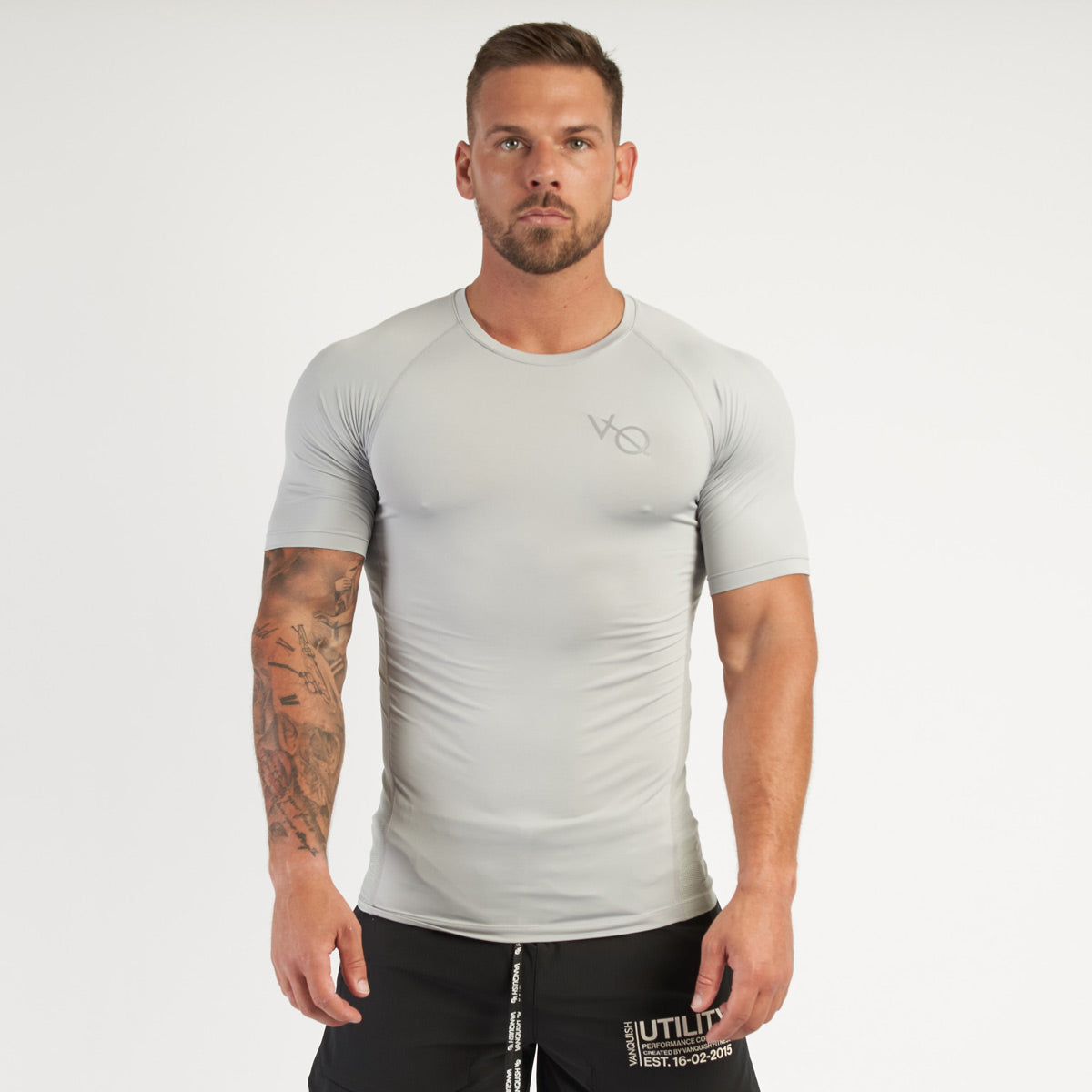 Vanquish Utility Men's Grey Short Sleeved Compression T Shirt