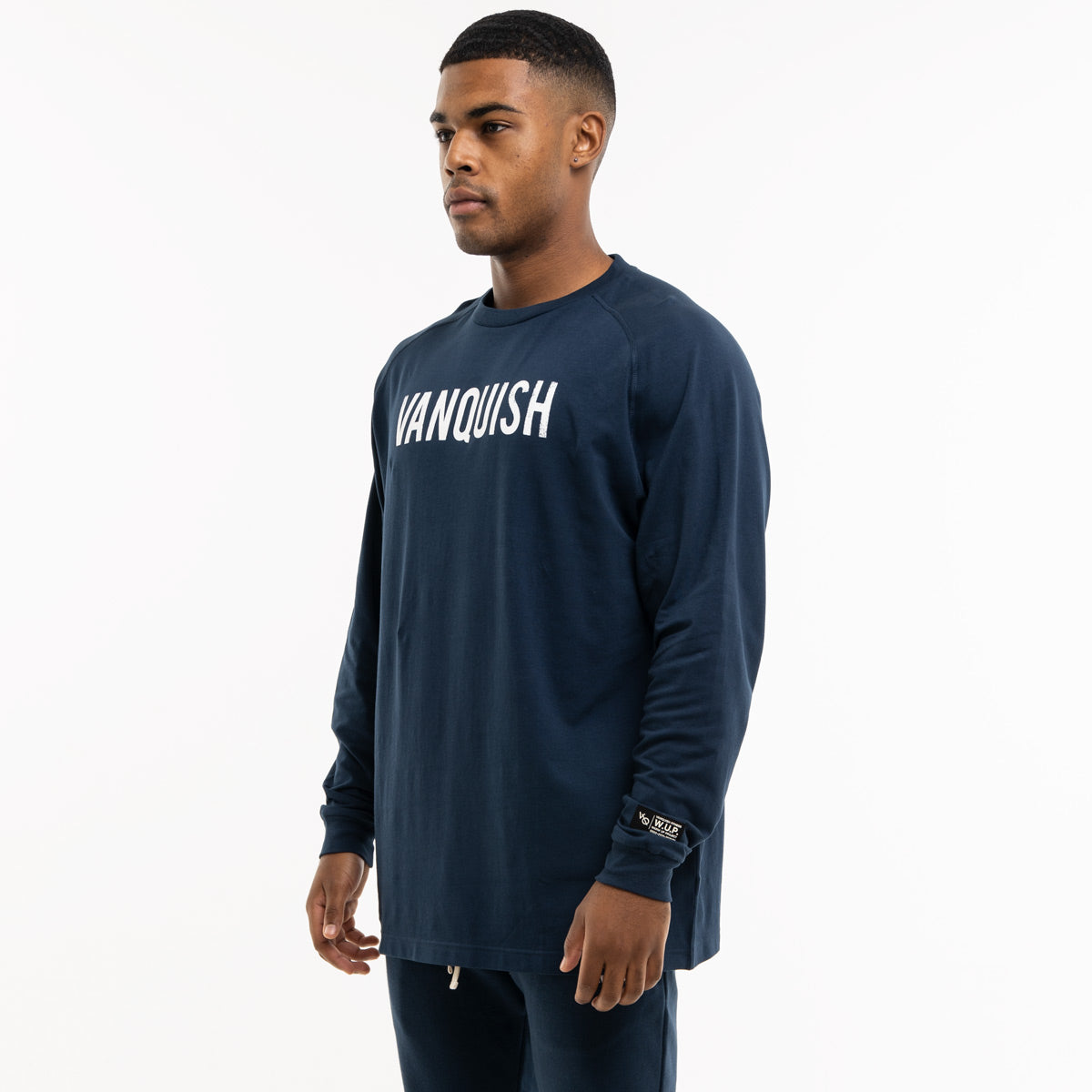 Vanquish Warm Up Project Navy Oversized Long Sleeve T Shirt
