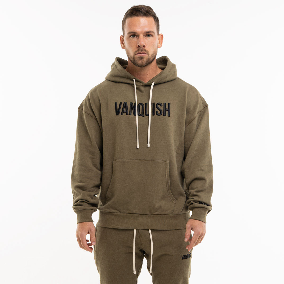 Vanquish Warm Up Project Olive Oversized Hoodie