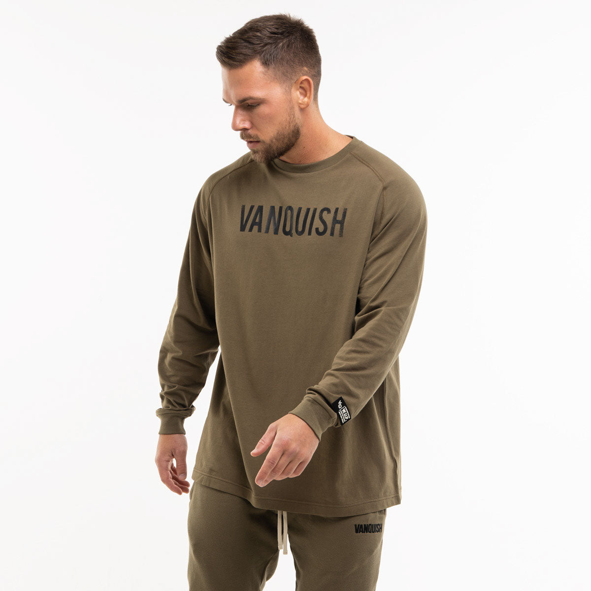 Vanquish Warm Up Project Olive Oversized Long Sleeve T Shirt