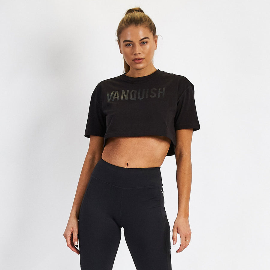 Vanquish Women's Blackout Cropped T Shirt