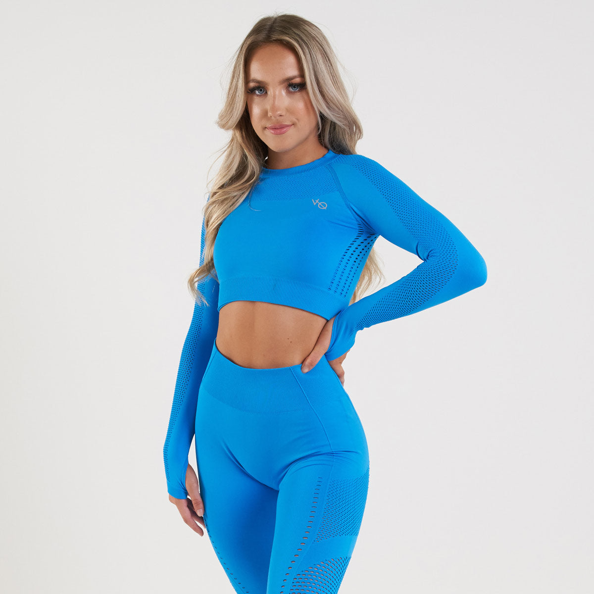 Vanquish Zeal Women's Blue Seamless Long Sleeve Crop Top