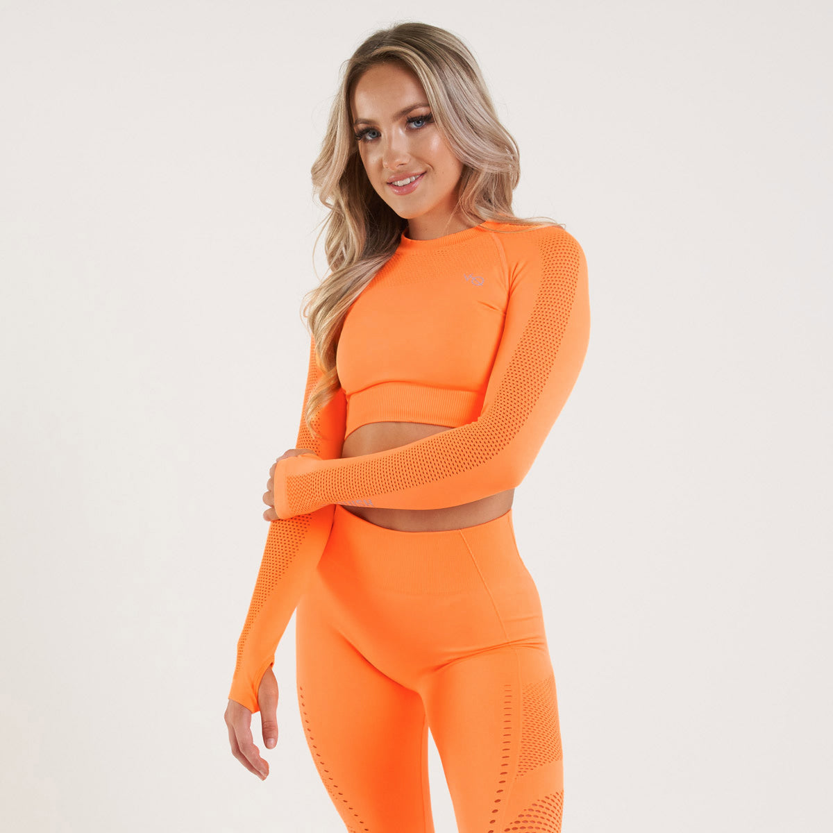 Vanquish Zeal Women's Orange Seamless Long Sleeve Crop Top