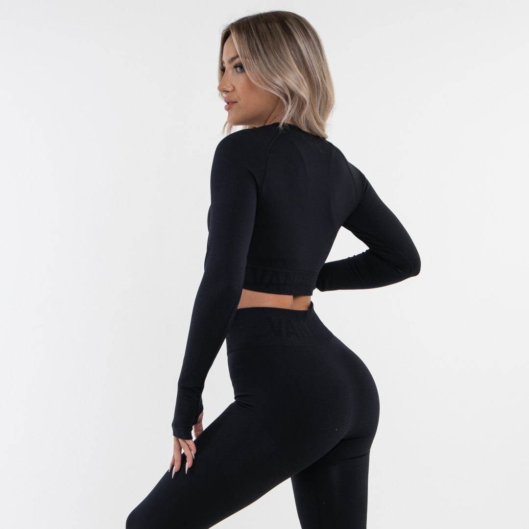 Vanquish Allure Women's Blackout Seamless Long Sleeve Crop Top