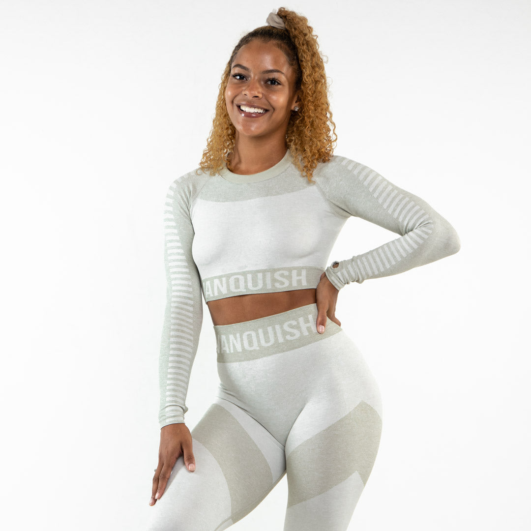 Vanquish Allure Women's Matcha Seamless Long Sleeve Crop Top
