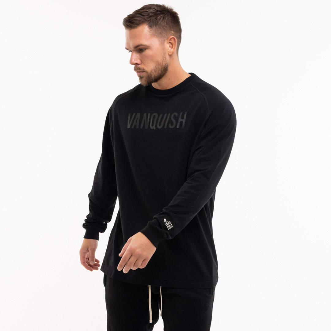 Vanquish Warm Up Project Blackout Oversized Long Sleeve T Shirt