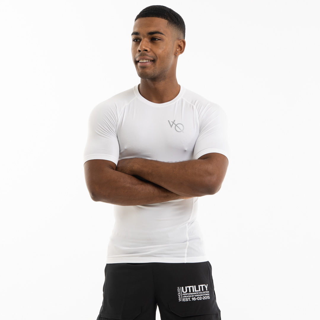 Vanquish Utility Men's White Short Sleeved Compression T Shirt