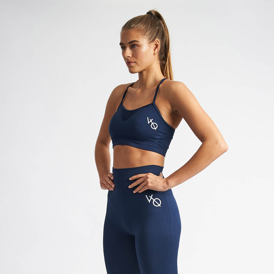 Vanquish Women's Virtue Navy Seamless Sports Bra