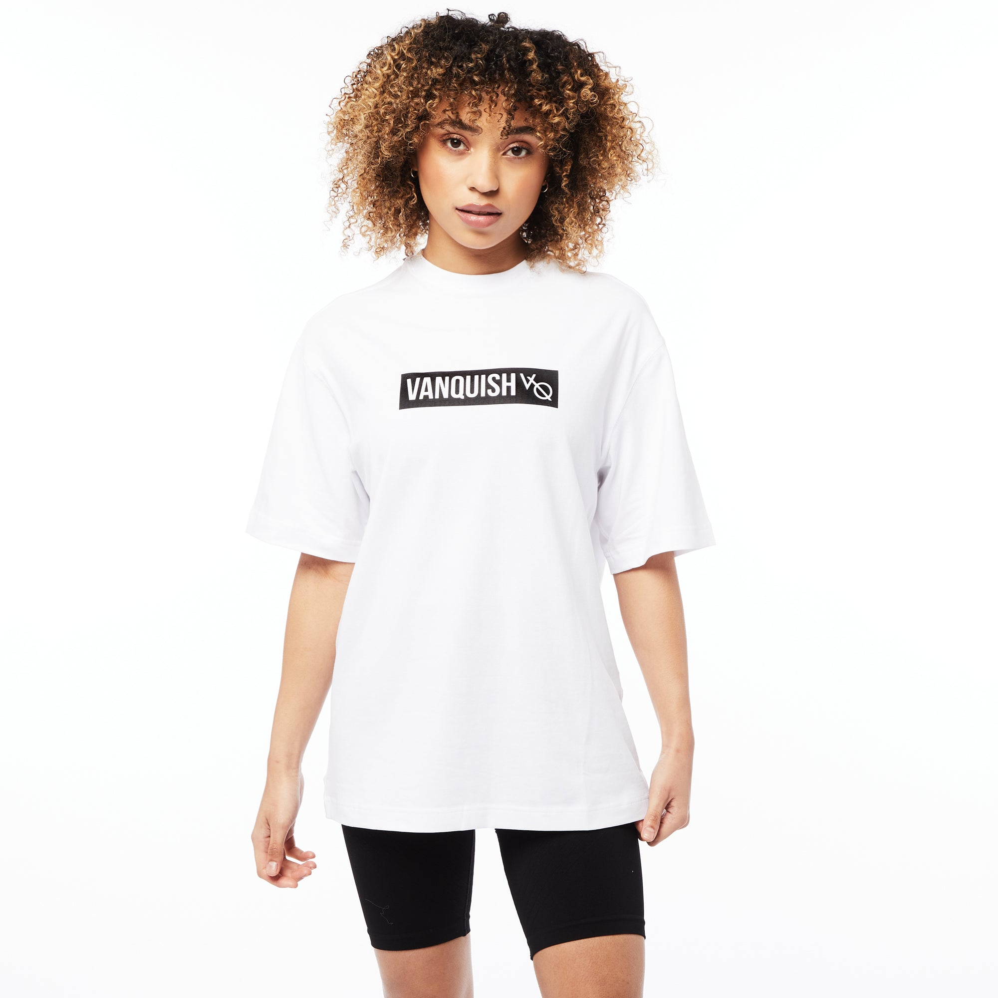 Vanquish Unisex Box Logo White Oversized T Shirt