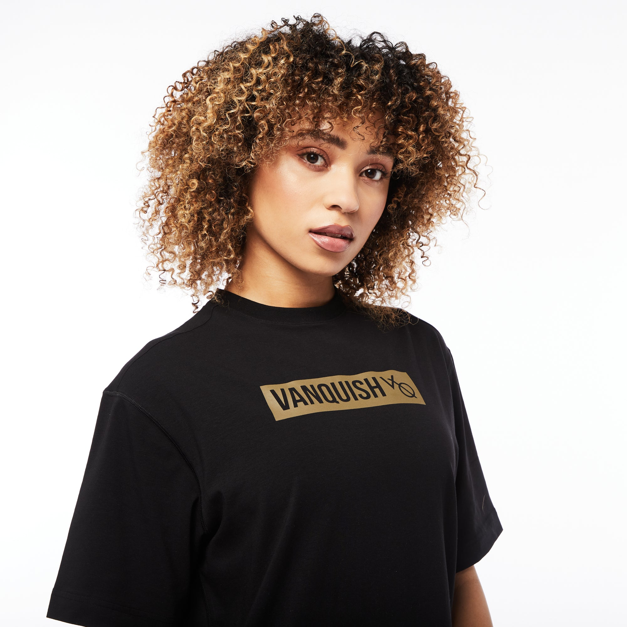 Vanquish Unisex Box Logo Olive on Black Oversized T Shirt