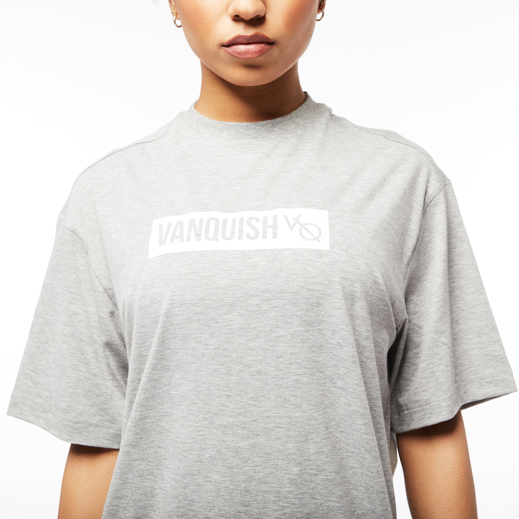 Vanquish Unisex Box Logo Ash Grey Oversized T Shirt