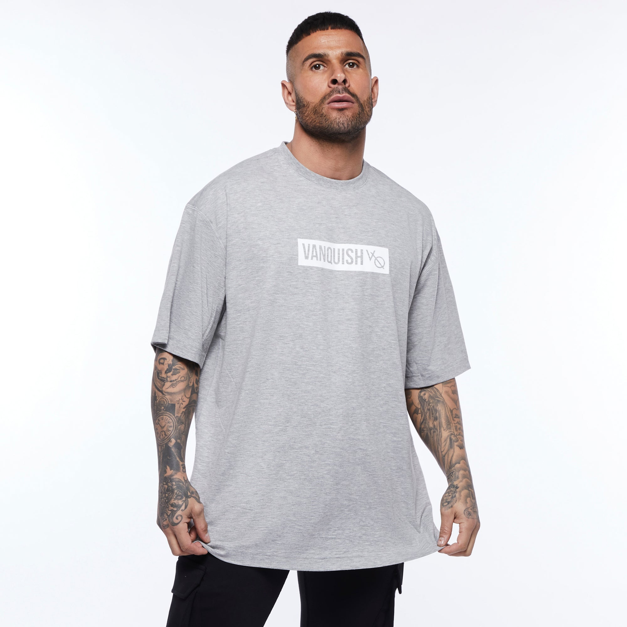 Vanquish Box Logo Ash Grey Oversized T Shirt