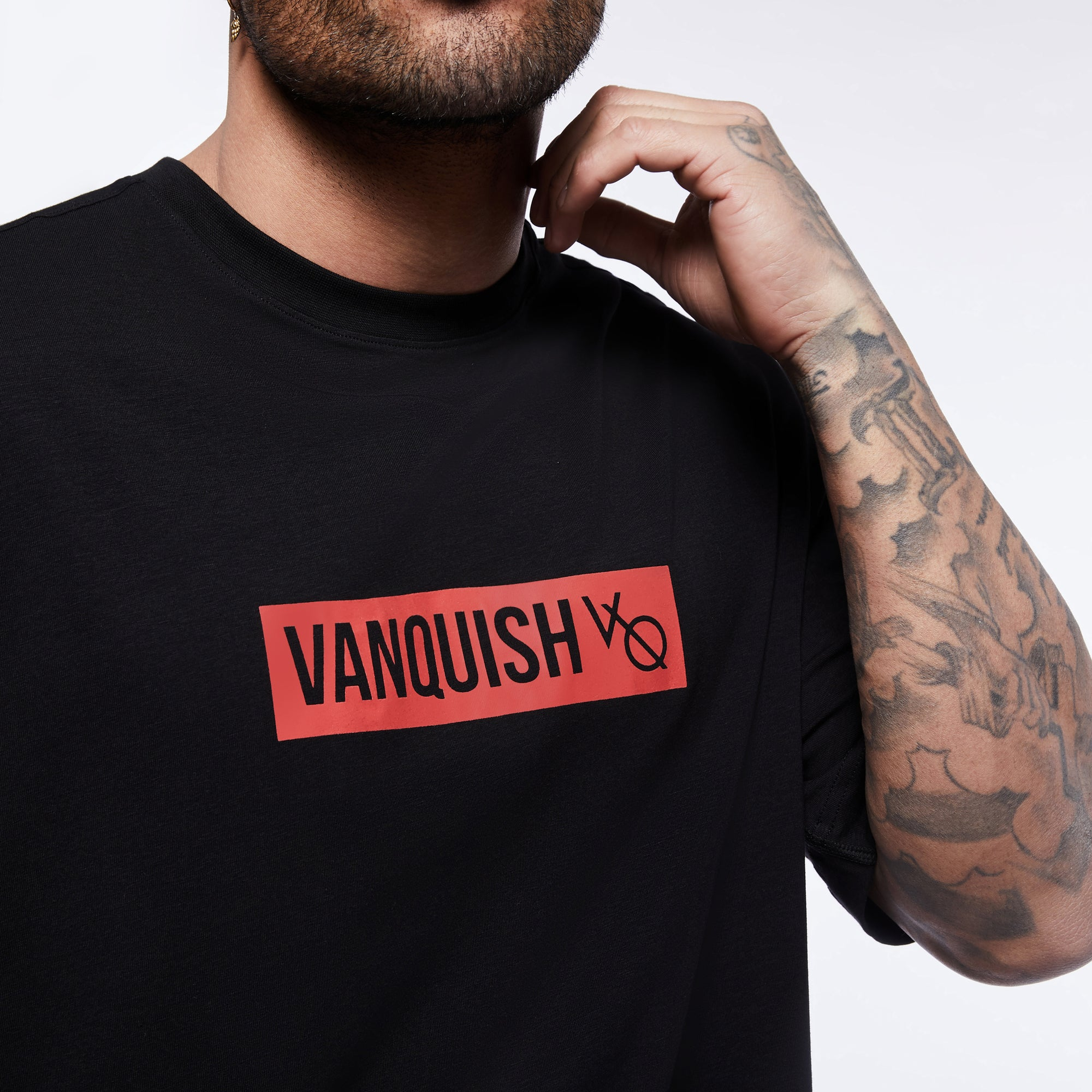 Vanquish Box Logo Red on Black Oversized T Shirt