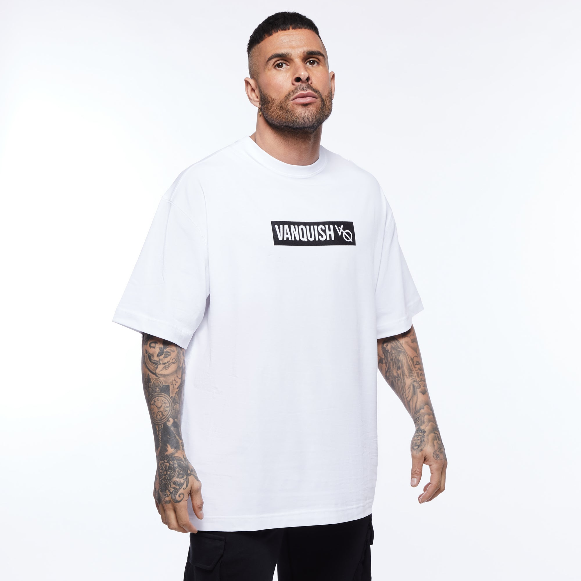 Vanquish Box Logo White Oversized T Shirt
